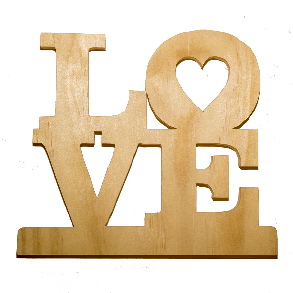 wooden love display sign