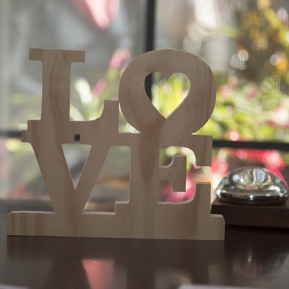 wooden love gift sign